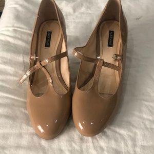 Nude t—strap heels